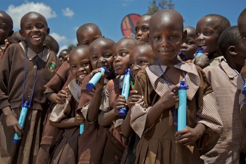 Many Children With LifeStraw Personal Water Filter