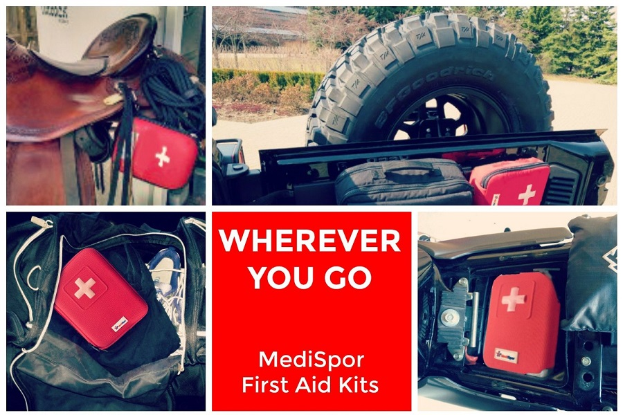 MediSpor 100-Piece First Aid Kit, Red Hard Case Wherever You Go