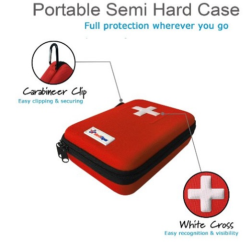 MediSpor 100-Piece First Aid Kit, Red Hard Case Portable Semi Hard Case