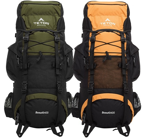 Orange and Green TETON Sports Scout 3400 Internal Frame Backpack
