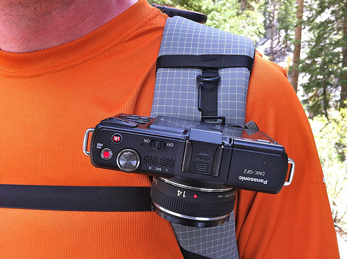 Camera Strapped to Backpack