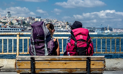 Two People Sitting on a Bench With Backpacks Next to Sea