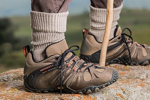 Man Wearing Brown Hiking Boots